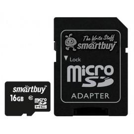 MicroSDHC 16GB Class10 + SD адаптер Smart Buy