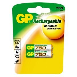 GP AAA 750mAh BL2 (2/20)