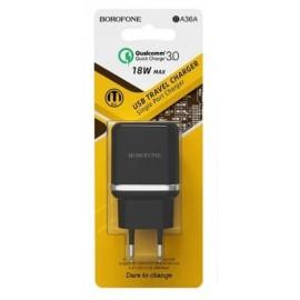 Сетевое З/У Borofone USB3.0A 1usb Ba36A 3000mA black