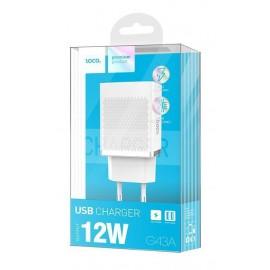 Сетевое З/У Hoco USB2.4A 2usb C43A 2400mA white