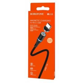 USB кабель MicroUSB Borofone BU16 2.4A black ткань