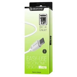 USB кабель MicroUSB Borofone BX14 white