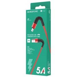 USB кабель MicroUSB Borofone BX32 5A red ткань